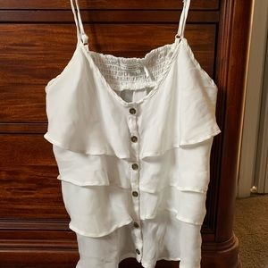 Body Central White Ruffled Tank